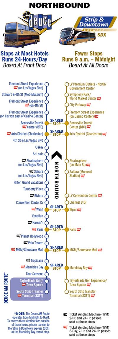 Verkehrsmittel Las Vegas - Taxipreise - Shuttles - Busse ... on las vegas deuce route, double-decker bus vegas map, vegas deuce route map, las vegas maps printable, las vegas deuce schedule, vegas strip map, las vegas bus,